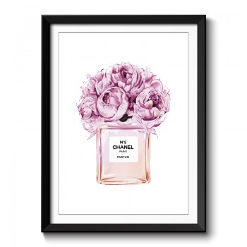 Chanel No5 Pink Flowers Perfume Bottle Framed Art Print