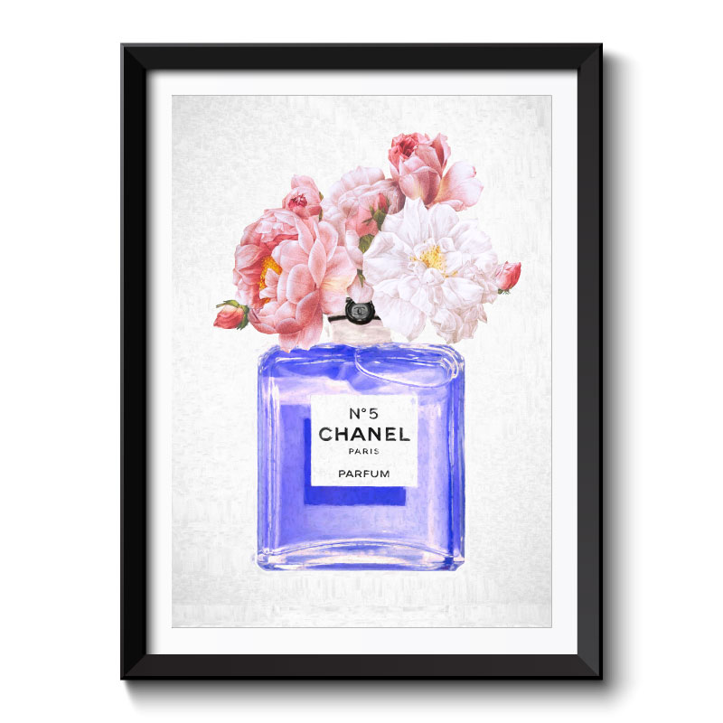 Chanel Blue Flowers Framed Art Print