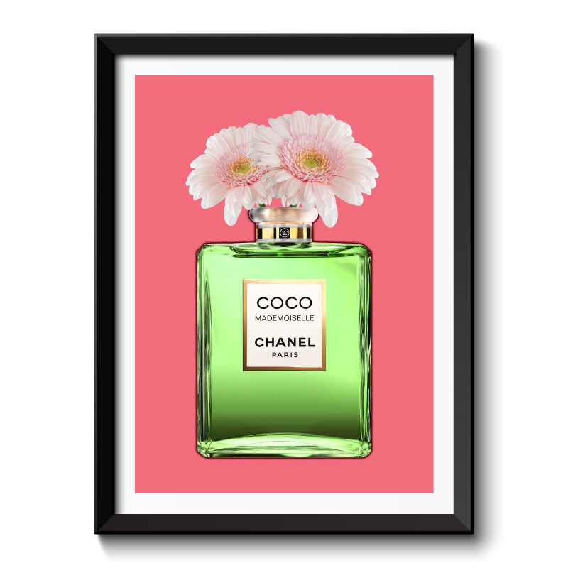 Green Coco Chanel With Flowers Framed Art Print