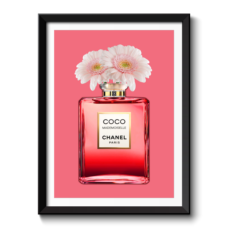 Red Coco Chanel With Flowers Framed Art Print