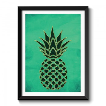 Pineapple on Green Watercolor Background Framed Art Print