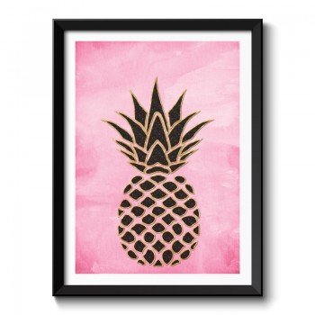 Pineapple on Pink Watercolor Background Framed Art Print