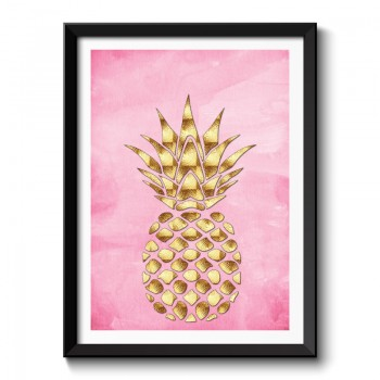 Golden Pineapple On Pink Framed Art Print