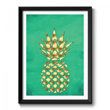 Golden Pineapple On Green Framed Art Print