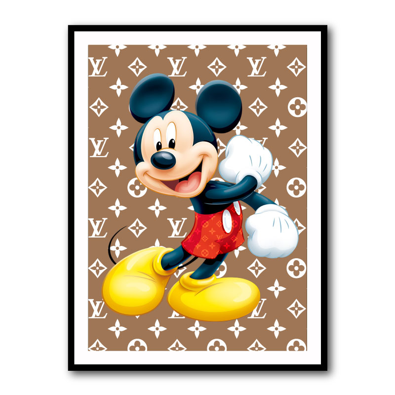 Mickey Mouse LV Brown Framed Art Print