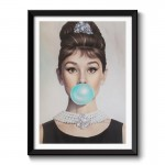 Audrey Hepburn Bubble Gum Framed Wall Art Print