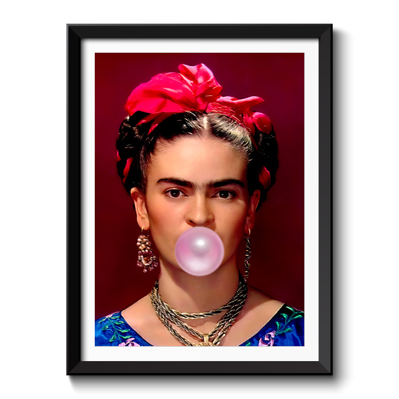 Frida Kahlo Bubble Gum Print Framed Art Print