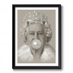 Queen Elizabeth II Bubble Gum Framed Wall Art Print