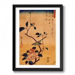 Camellia and Bush Warbler by Hiroshige Japanese Vintage Framed Print