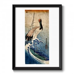 Crane in waves by Hiroshige Japanese Vintage Framed Print