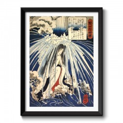 Hatsuhana doing penance under the Tonosawa waterfall Japanese Vintage Framed Print