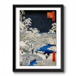 Hiroshige Drum bridge at Meguro and Sunset Hill  Japanese Vintage Framed Print
