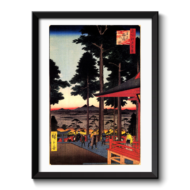 The Inari shrine at Oji by Hiroshige Japanese Vintage Framed Print