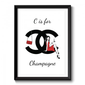 C is for Champagne Framed Art Print