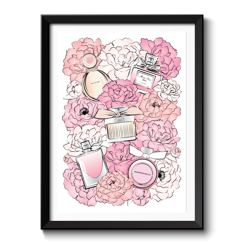 Perfume & Flowers Framed Art Print