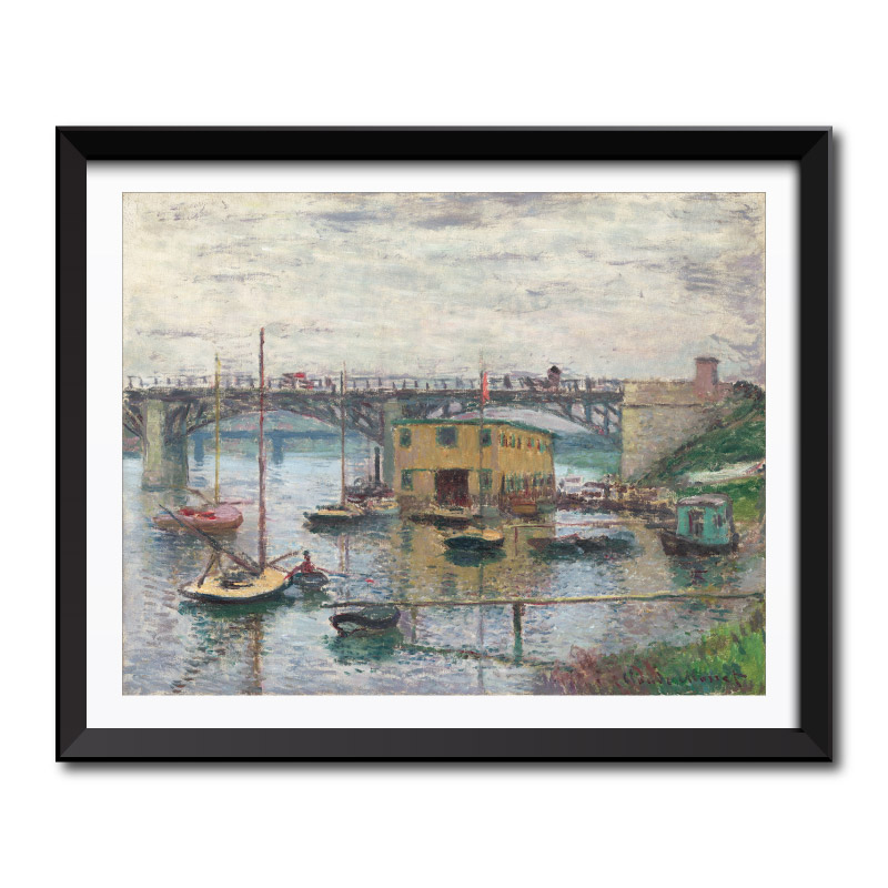 Bridge at Argenteuil on a Gray Day (1876) by Claude Monet Framed Art Print