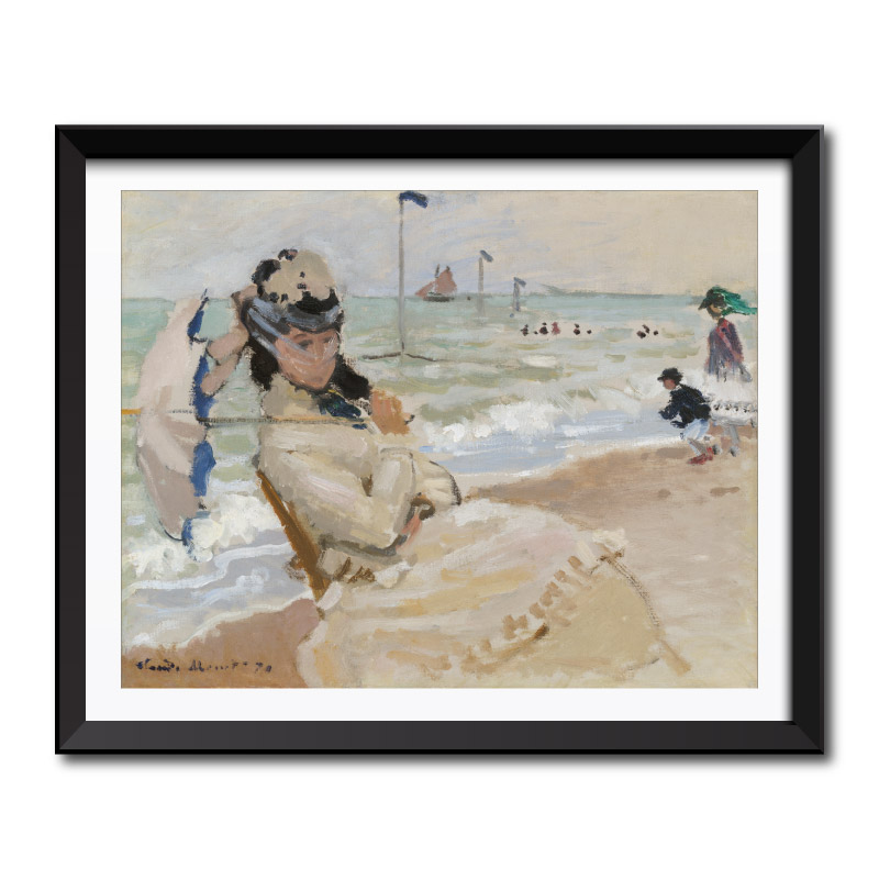Camille on the Beach in Trouville (1870) by Claude Monet Framed Art Print