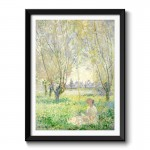 Woman Seated under the Willows (1880) by Claude Monet Framed Wall Art Print