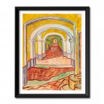 Corridor in the Asylum (1889) by Vincent Van Gogh Framed Wall Art Print