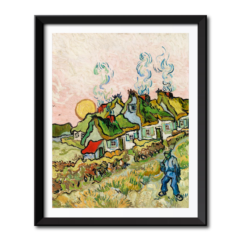 Houses and Figure (1890) by Vincent Van Gogh Framed Wall Art Print