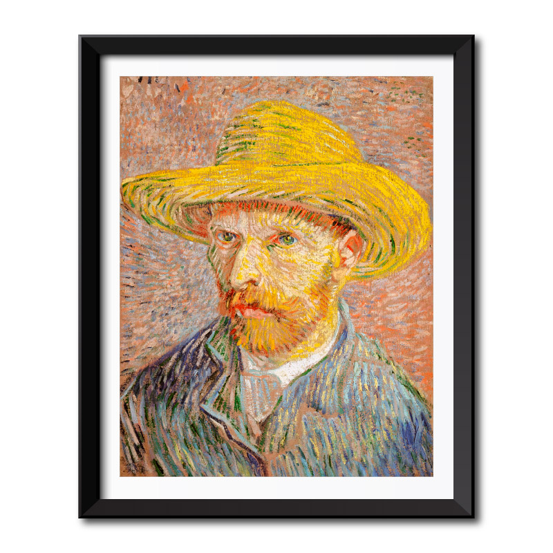 ee9e4649f0b Self Portrait with a Straw Hat (1887) by Vincent Van Gogh Framed Wall Art  Print