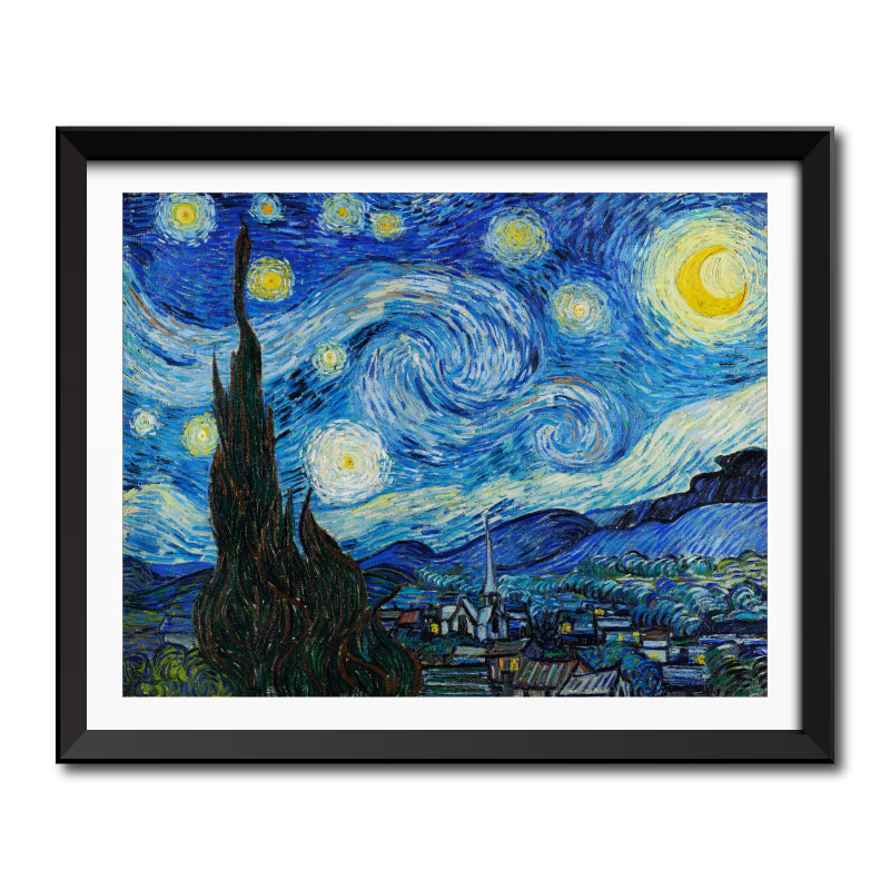 The Starry Night (1889) by Vincent Van Gogh Framed Art Print