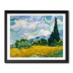 Wheat Field with Cypresses (1889) by Vincent Van Gogh Framed Art Print