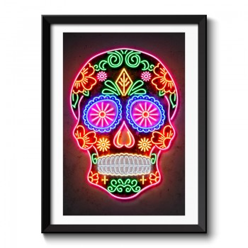 Day of the Dead Skull Neon Style Framed Art Print