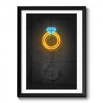 Diamond Ring Neon Style Framed Art Print