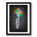 Flying Balloons Neon Framed Art Print