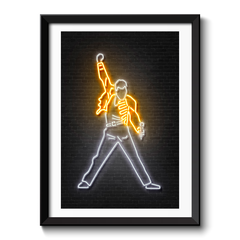 Freddy Mercury Neon Framed Art Print