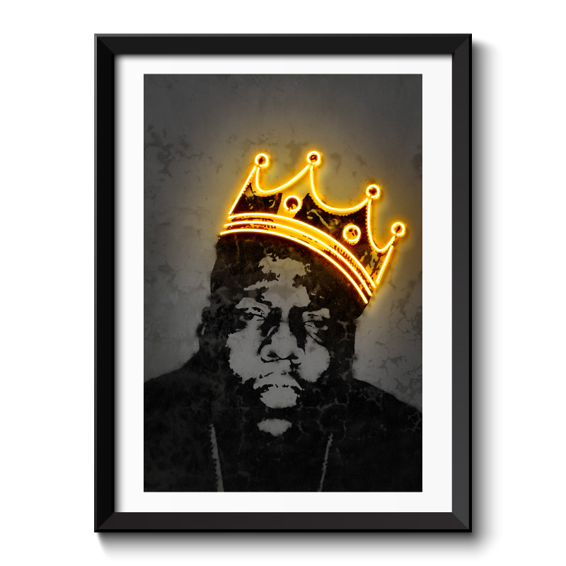 Notorious BIG Neon Style Framed Art Print