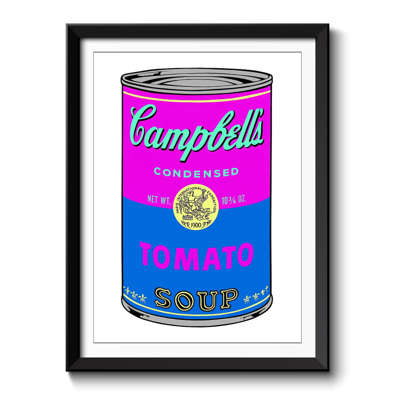 Campbells Soup Pink Framed Wall Art Print