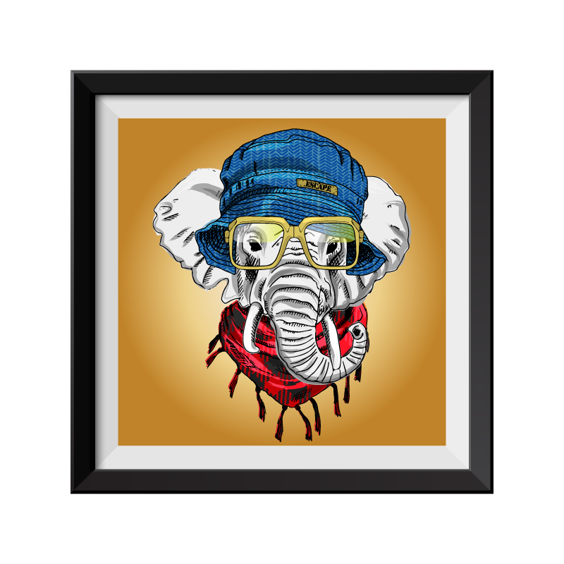 Elephant in Hat Pop Art Framed Print