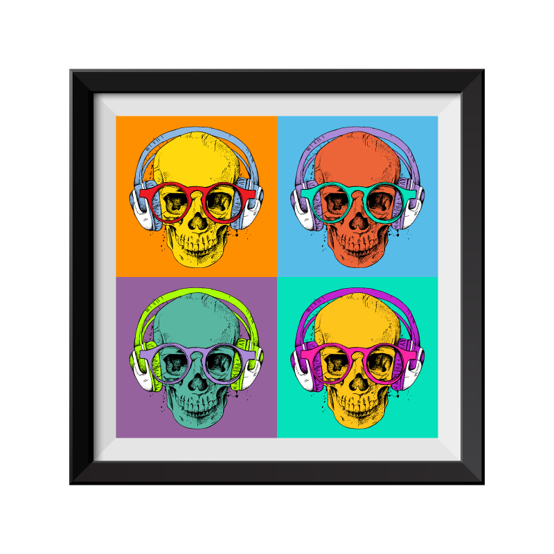 Four Skulls Pop Art Framed Print