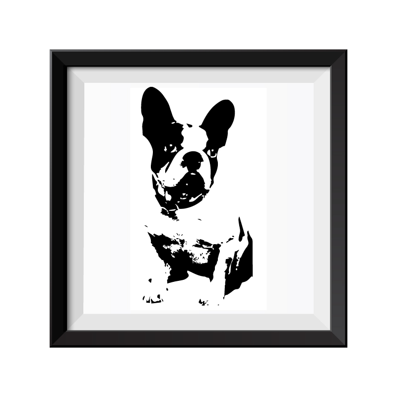 French Bulldog Black & White Framed Print