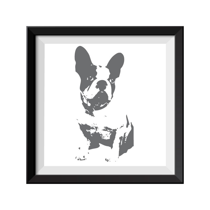 French Bulldog Grey Framed Print