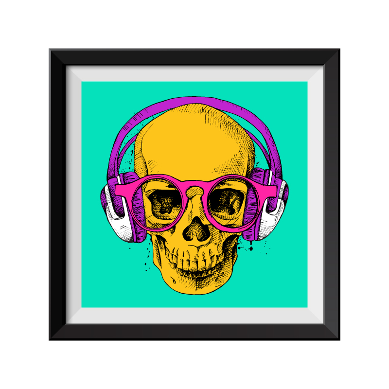 green skull pop art print. Black Bedroom Furniture Sets. Home Design Ideas