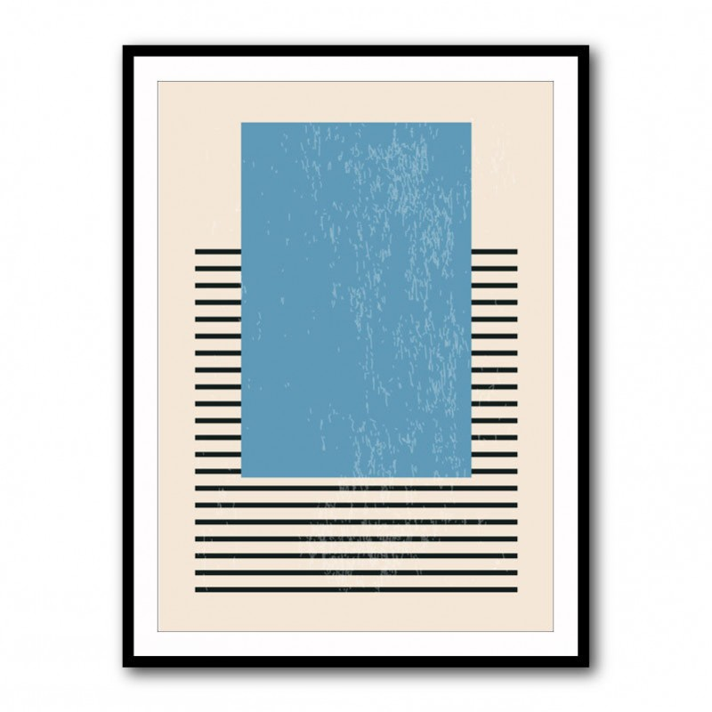 Blue Lines Abstract Framed Art Print
