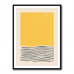 Waves Under Yellow Abstract Framed Art Print