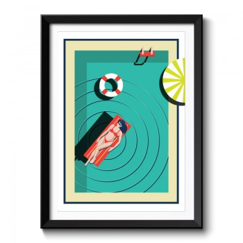 Art Deco at the Pool Framed Art Print