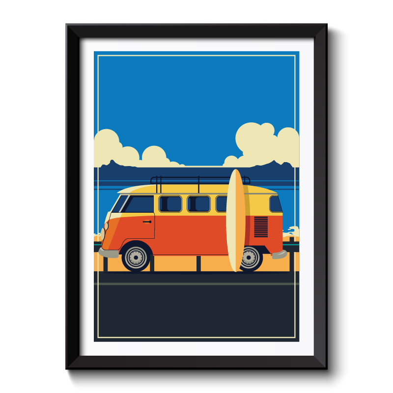 Art Deco Camper Van Framed Art Print