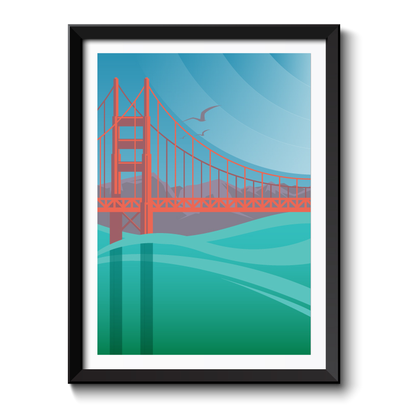Art Deco Golden Gate Bridge Framed Art Print