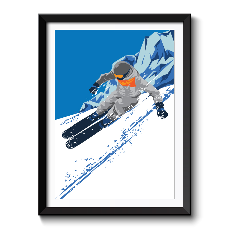 Art Deco Winter Ski Framed Art Print