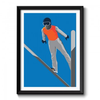 Art Deco Ski Jumper Framed Art Print