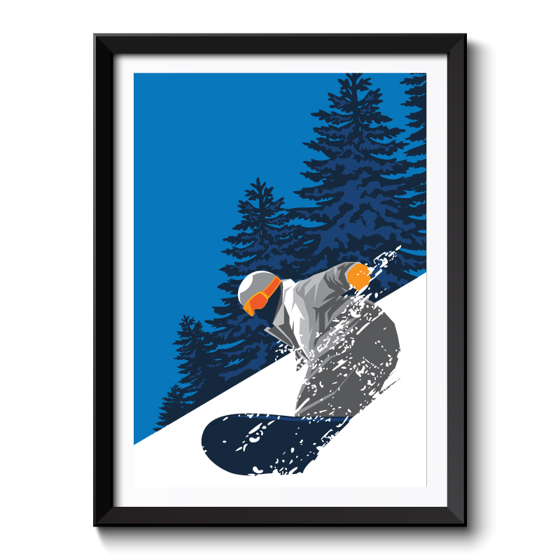 Art Deco Snowboarding Framed Art Print