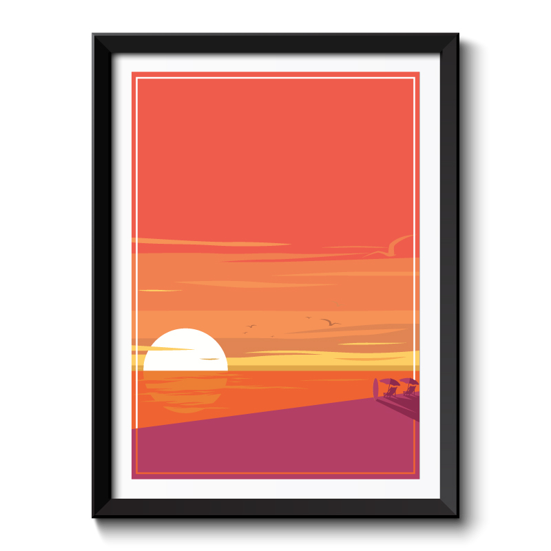 Art Deco Sunset Framed Print