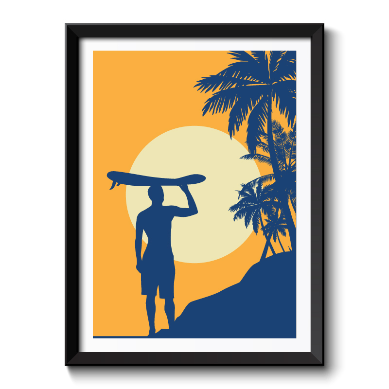 Art Deco Surfer Framed Art Print