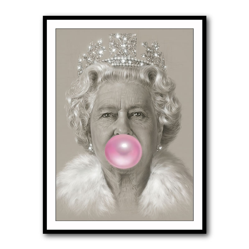 Queen Elizabeth II Pink Bubble Gum Framed Wall Art Print