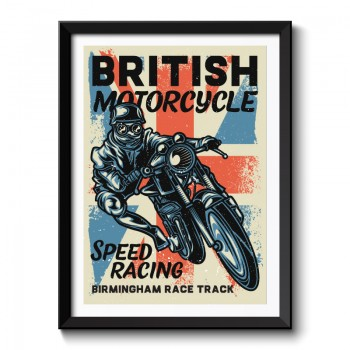British Motorcycle Speed Racing Framed Print